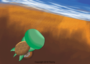 Mother turtle lays eggs